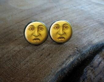 Boucles d'oreilles puces cabochon puce la lune abasourdi Boucles d'oreilles rétro vintage, Boucles d'oreilles cabochon