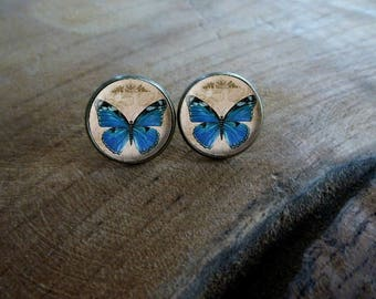 Boucles d'oreilles puces cabochon le papillon bleu Boucles d'oreilles rétro vintage, Boucles d'oreilles cabochon romantique le papillon bleu