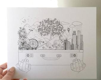 Suitcase World Art Print