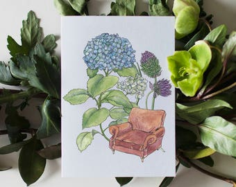 Lounge Chair Flower Greeting Card