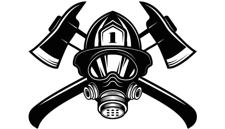 firefighter logo 14 firefighting helmet mask axes fireman