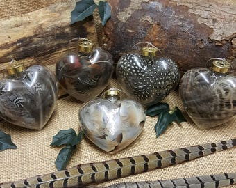 Glass feather filled baubles 3 pack gift boxed