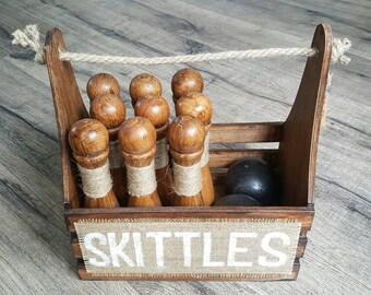 Skittles - Rustic Brown   Bowling Set   Wedding Game   Garden Game   Skittles Set   Vintage Game   9 Pin Skittles   Lawn Game