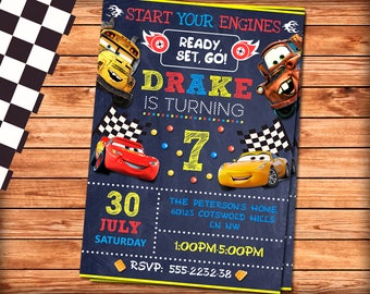 Cars Invitation, Cars Birthday Invitation, Cars 3 Invitation, Cars Party, Cars 3 Party, Cars Birthday Invite