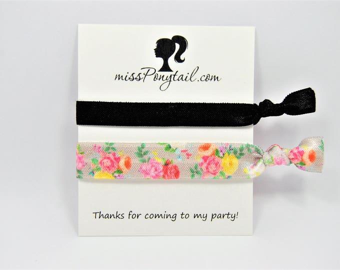 Birthday Party Favor Hair Ties, Floral Hair Ties, Grey, Gray, Pink, Black, Handmade Trendy Ponytail Holders Knotted Elastic Hair Ties