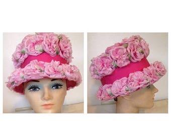 On Sale Fabulous Vintage Pink Floral Hat