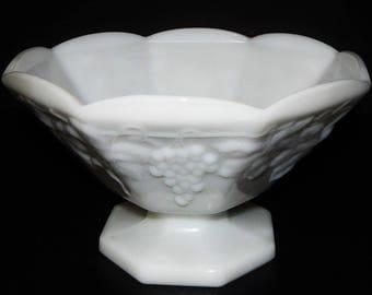 Anchor Hocking Milk Glass Compote Pedestal Fruit Bowl Grape Design Vintage White