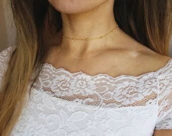 gold rain drop beaded choker - satellite chain, minimal, delicate, dainty, Satellite Bead Choker, Satellite Chain, Rosary Bead Choker