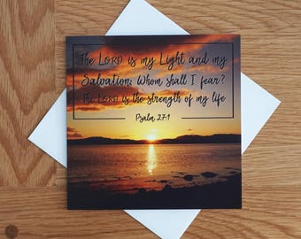 Bible Verse - Quote - Photography Greetings Card - 148 x 148 - Psalm 27-1 - Blank Inside - Any occasion