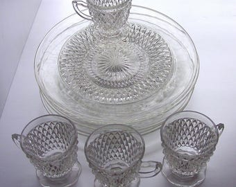 Indiana Glass Diamond Point Clear Snack Set Service for (4) Snack Plates, Snack Cups, Vintage, Rare, 1960's, New in Original Box
