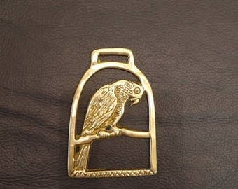 Vintage Horse Brass, solid brass decorative item, Parrot