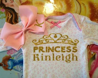 Personalized Baby Girl Going Home Hospital Pictures Gown With Matching Bow