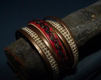 Retro leather Cuff Bracelet & suede Stud