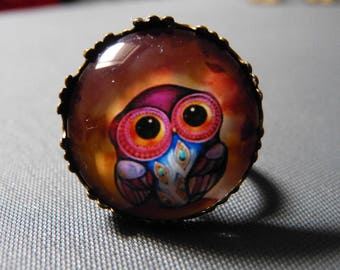 Orange OWL cabochon ring