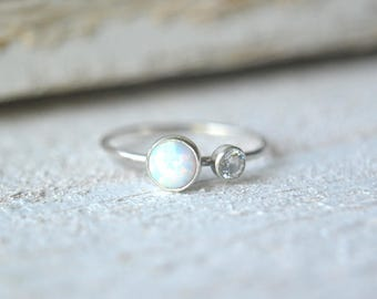 Sterling Silver Opal Ring. Opal Gemstone Ring, White Opal Ring, Stacking Ring, Opal Stackable Ring, Dainty Opal Ring, Two Gemstone Ring