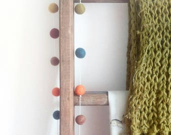Autumn home décor, autumnal felt ball garland, Feltball garland, hygge, hygge home décor, warm, cosy nights, living room decor