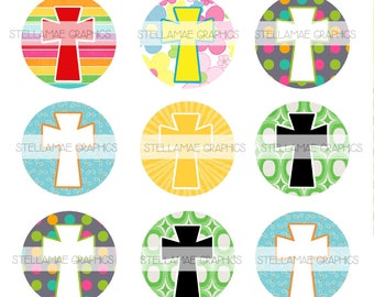 Crosses - 1 inch circle images, bottlecap, cupcake topper - INSTANT DOWNLOAD