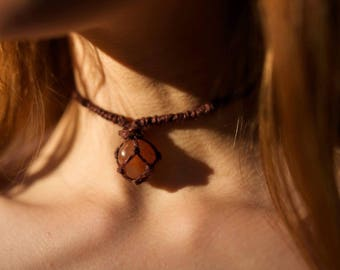 Orange Carnelian Crystal Macrame Net Necklace (Adjustable)
