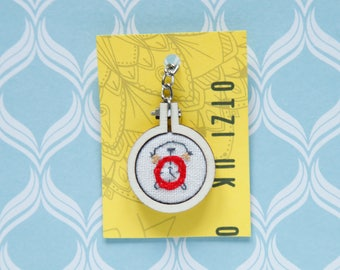 Hand made embroidered mini hoop keychain alarm clock