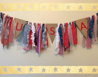 Rustic, Patriotic, Fourth of July, Independence Day, Memorial Day, Labor Day, USA, Red, White, and Blue Shabby Chic Garland Banner