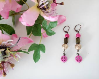 Bright Pink, Green and Gold Peace Dangle Earrings