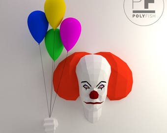 Pennywise Stephen King (It origami, 3D Evil clown, Papercraft, Lowpoly, DIY template, PDF, You'll float too, Losers Club, Evil killer clown)