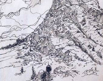 "Ink Sketch - Print Titled ""The Mountain's Call"""
