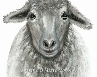 Watercolor Sheep/Nursery decor/Wall art 8x 10 in