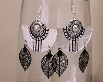 Ethnic earrings silver and black filigree leaf earrings