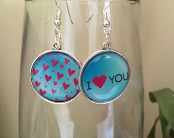 Earrings cabochon 25 minutes love