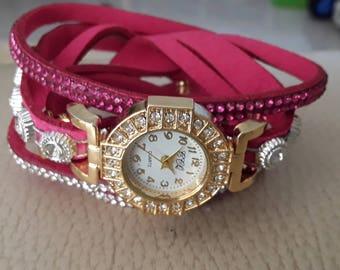 Rhinestones and pink bracelet watch