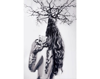 Reduced Original Large Canvas Painting Acrylic One of a Kind Modern Female Portrait Surreal Black White Nature Tree Gallery Art Sale Price