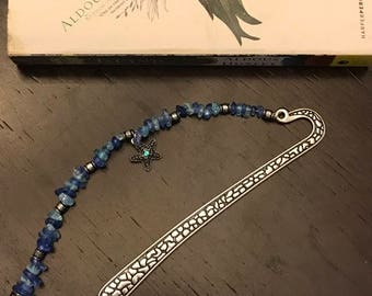 Silver plated  bookmark with Blue glass beads and starfish charm