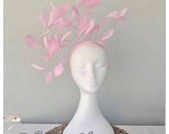 Ladies pink feather headband fascinator