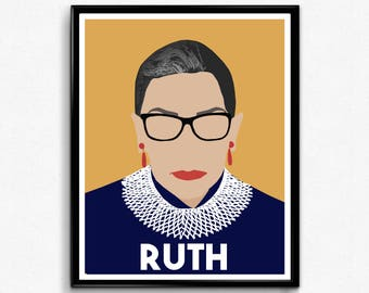 Ruth Bader Ginsburg, Feminist Poster Print, Feminist Wall Art,  Supreme Court Justice-