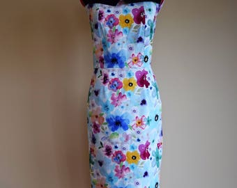 High Fashion Dress / Wiggle Dress / Floral Dress / Pencil Dress / Pinup Dress