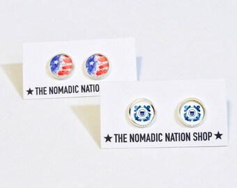 Coast Guard Earrings- Coast Guard Accessories- Military Accessories- Coast Guard Wife- Coast Guard Girlfriend- Coast Guard Mom