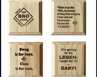 Barney Stinson Bro Code Coasters: How I Met Your Mother inspired permanent engraved gift set of 4 wood coasters.