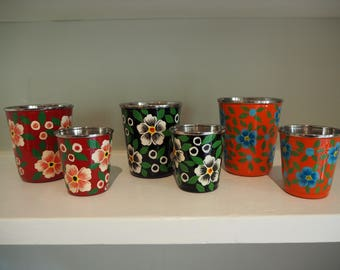SALE Hand Painted Kashmir Floral Gypsy Enamelware Hippie Shabby Chic Glamping Picnic Tumbler Set x 6