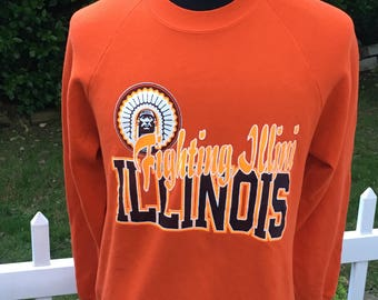 Vintage 80s University of Illinois Fighting Illini 1980s Crewneck Sweatshirt - vintage sweatshirt - 80s sweatshirt (XL)