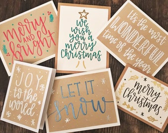 Set of 6 Assorted Holiday Cards with Embossed Lettering - Rustic Calligraphy Greeting Cards