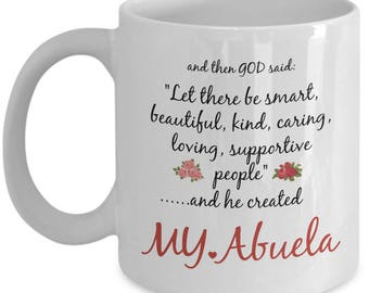 Abuela Mug - Abuela Gift - God Created My World's Best Funny Coffee Cup For Family Members