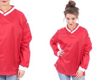 Red Rain Jacket Jumper 80s KAPPA Nylon Oversized Festival Windbreaker Sports Activities Men Women Unisex Relaxed Fit Raglan Sleeves XL