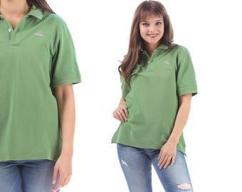 ADIDAS Polo Shirt 90s Grunge Top Hipster Retro Adidas Climalite Top Green Vintage Normcore  Cotton Men Women Medium Large