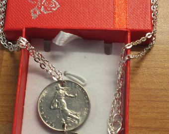 Marianne  Franc coins  fiction goddess of freedom  silver necklace