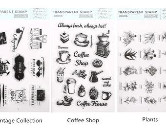 Vintage Style Clear Stamp Set #4 - Vintage Collection, Coffee Shop, Plants, Planner, Journal, Craft, Scrapbooking, Decoration