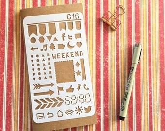 Bullet Journal Stencil #C16 - Planner, Journal, Craft, Scrapbooking, Decoration