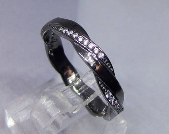 Black Rhodium and size 54 CZ sterling silver ring