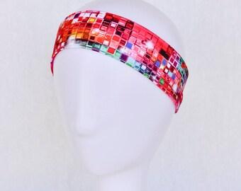 Pink headband,  yoga headband, workout headband, running headband, sweatband, pink bling print head band