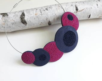 Handmade necklace Polymer clay jewelry Bib necklace Statement necklace Tribal necklace   Modern jewelry navy blue and magenta, fimo necklace